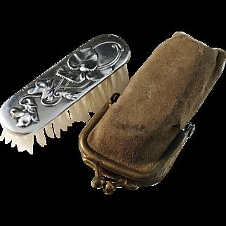 French Art Nouveau Sterling Silver Moustache Brush w Original Case. Hallmarked