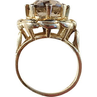 Maker KARBRA, Mid Century 14k Gold Smokey Quartz Ring.