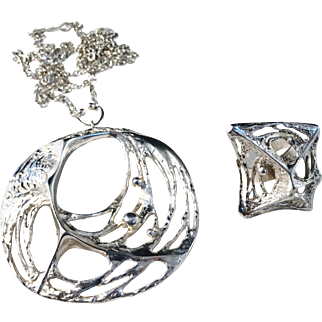 Karl Laine 1970-71 Huge Solid Silver Spider Web Pendant Necklace and Ring. Excellent.