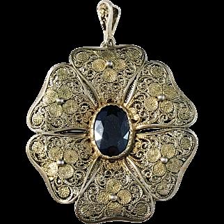 Art Nouveau Sterling Silver Filigree Onyx Pendant. Swedish import.