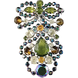 Christian Dior 1959 Rhinestone Brooch (can be separated to a pendant and a brooch) Excellent.