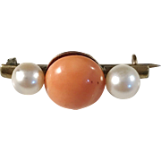 Antique Small Silver Gilt Coral Cultured Pearl Brooch. South Europe early 1900s.