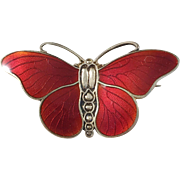 Marius Hammer, Norway Antique Sterling Deep Red Enamel Butterfly Brooch. Excellent.