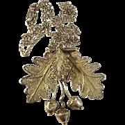 Antique Art Nouveau 1910s Sterling Silver Filigree Acorn Pendant Necklace.