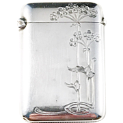 Charles Murat, Paris France. Art Nouveau Sterling Silver Vesta Case. Excellent.