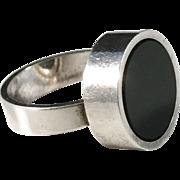 Niels Erik From, Denmark, Modernist Sterling Silver Onyx Ring.