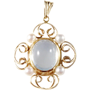 Mid Century 1940s Sweden, 18k Gold Cultured Pearl and Moonstone Pendant.