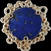 Maker GAV, Vintage 14k Gold Lapis Lazuli Brooch. Excellent.