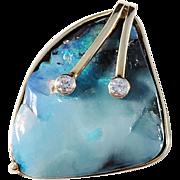 Stunning Custom Made Boulder Opal Diamond 14k Gold Vintage Pendant. 10.1gram