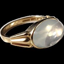 G Dahlgren, Sweden year 1954 Mid Century 18k Gold Moonstone Ring. Excellent.