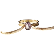 Georgian Hidden Hair Locket Mourning 18k Gold Amethyst Ring. Adolf Sjöbeck, Sweden year 1827. Wow.