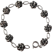 Maker Kello, Finland year 1970 Solid Silver Rose Flower Bracelet.