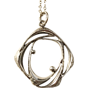 Kultasepat Salovaara, Finland year 1973 Modernist Solid Silver Pendant Necklace.