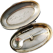 Extremely Rare Victorian mid 1800s German Solid Silver Novelty Snuff Box w Spoon. Hallmarked.