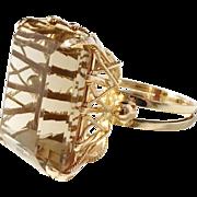 Massive Oversized Modernist 14k Gold Citrine Ring. Designer/Maker's Mark. 14.4gram