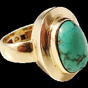 H A Jakobsson, Sweden year 1969 Modernist 18k Gold Turquoise Ring. Excellent. 8.3gram