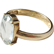 G.A.Amberg, Finland year 1947 Mid Century 18k Gold Ice Blue Rock Crystal Ring.