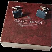 Vintage 1960s Flemming Eskildsen for Georg Jensen, Copenhagen Denmark Design no 84 Sterling Cufflinks in original Box