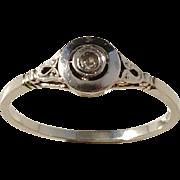 Art Deco White Gold Diamond Ring.  Excellent.