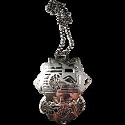 "Huge and Unique 5 1/2"" x 4 1/2"" Solid Silver Modernist Pendant Necklace. Sought after Kaplan, Stockholm Sweden year 1972."