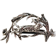 French La Belle Epoque Victorian c 1890 Sterling Silver Seed Pearl Rabbit Brooch.