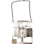"""Huge and Unique 4"""" x 4"""" Solid Silver Modernist Brutalist Pendant Necklace. Sought after Kaplan, Stockholm Sweden year 1972."""