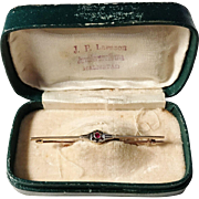 Austria 1872-1922 early Art Deco 14k Gold Ruby Pin Brooch in Antique Retailers Box.