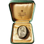 Adolf Danielsson, Sweden year 1888 Victorian Solid Gold Washed Silver Large Photo Locket Brooch. In box.