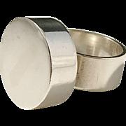 "Georg Kramer ""Fishland"" Germany Solid 835 Silver Modernist Chunky Unisex Ring."