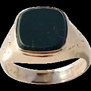 Bertil Häggström, Sweden year 1912 Antique 18k Gold Bloodstone Men's Ring. 5.3gram