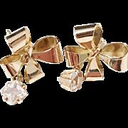 Sweden 1950s 18k Gold Rock Crystal Earrings.