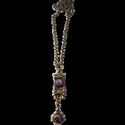 Pentti Sarpaneva, Finland (1925-1978) Bronze Raw Amethyst Brutalist Pendant Necklace. 1960s. Marked.