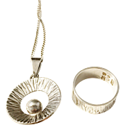 Victor Janson, Sweden year 1971-72 Solid Silver Set of Necklace and Ring.
