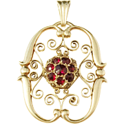 AW Andersson, Sweden year 1946 MId Century Gold Washed Solid Silver Garnet Pendant. Excellent.