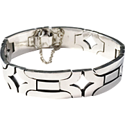 Taxco Maker JJ, Mexico Early Modernist mid 1960s  2oz Sterling Silver Bracelet. Excellent.