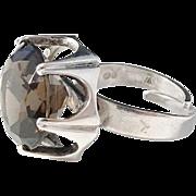 Bengt Hallberg Sterling Silver Oversized Smoky Quartz Adjustable Size Modernist year 1975 Ring.