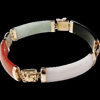 14k Gold Mid Century Hardstone Bracelet. Designer mark. Excellent.