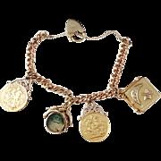 9, 18, 23K Gold Vintage Charm Bracelet. Georg Jensen. 0.4ctw Diamonds. 2 Full Sovereign. Agate. 1.86oz