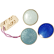 O Kristensen, Sweden year 1919 Three Small Solid Silver Enamel Buttons. Fully hallmarked.