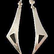 Selander, Sweden Vintage Sterling Silver Black Granite Pair of Earrings