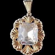 WilhelmHarbeck, Sweden year 1952 Mid Century 18k Gold Rock Crystal Pendant. Excellent.