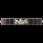 Early 1933-45 Georg Jensen, Denmark Sterling Silver Acorn Design 216B Art Deco Bar Pin Brooch