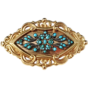 Edvard Emanuel Pettersson, Stockholm year 1841 early Victorian 18k Gold Turquoise Brooch