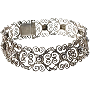 Norway, maker T.H.B Solid Silver Filigree early 1900s Bracelet.