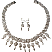 KE Palmberg, Sweden year 1953 Cut and Stamped Solid Silver Set of Necklace and pair of Earrings.