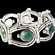 Los Ballesteros Taxco, Mexico Sterling Silver Chrysocolla Horseshoe Old Vintage Bracelet