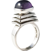 Kaplan, Stockholm Sweden, year 1965 Modernist Solid Silver Amethyst Ring.