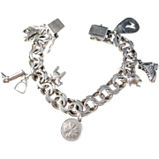 Massive 1.8oz Vintage Sterling Silver Charm Bracelet. Sweden.