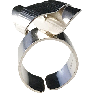 Ateljé Stigbert Solid Silver Modernist Ring. Adjustable Size