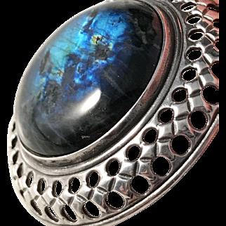 Vintage Kalevala Koru, Finland Large Sterling Silver Spectrolite Pendant Necklace